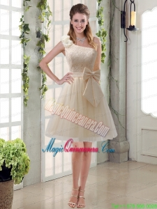 2015 Princess One Shoulder Bowknot Lace Mother Dresses in Champagne