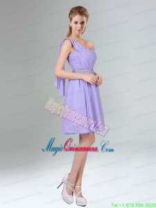 2015 Sassy Beaded and Ruched Short Mother Dress in Lavender