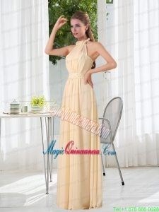 Popular Empire Halter Ruching Mother Dress with Hand Made Flowers