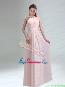 Romantic 2015 High Neck Chiffon Light Pink Mother Dress