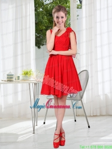 Ruching Hand Made Flowers V Neck 2015 Beautiful Mother Dresses