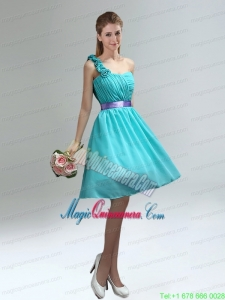Unique One Shoulder Ruches Teal Mother Dresses with Belt