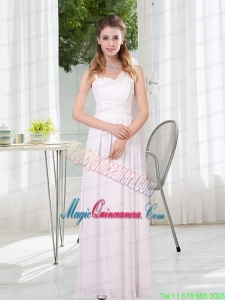 2015 White Empire Ruching Mother of the Bride Dresses with Asymmetrical
