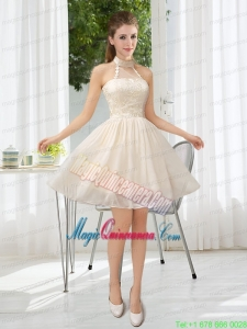 Halter Appliques Lace Up Mother of the Bride Dresses in Champagne