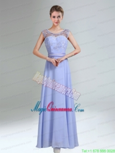 Lavender Scoop Belt and Lace Empire 2015 Mother of the Bride Dresses