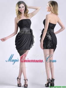 Lovely Column Bowknot Short Dama Dress in Chiffon and Sequins