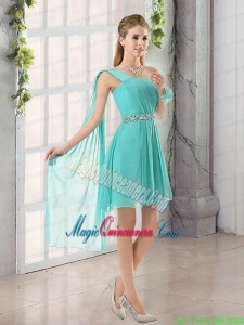 One Shoulder A Line Beading and Ruching Mother Dress for Quinceanera with Lace Up