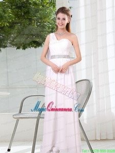 One Shoulder Empire Ruching Sequins White Mother Dresses