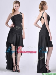 Romantic High Low One Shoulder Black Dama Dress with Criss Cross