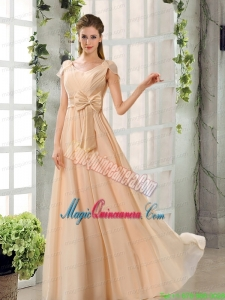 Scoop Ruching Cap Sleeves Chiffon Mother Dresses in Champagne