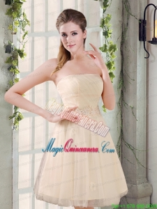 Strapless Appliques 2015 New Mother of the Bride Dresses in Champagne