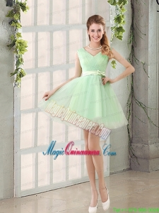 2015 Natural Organza A Line Belt Mother Dress for Quinceanera
