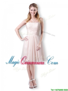 Cute Empire Chiffon Champagne Short Dama Dress with Halter Top
