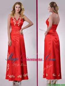 Modest Column Halter Top Backless Red Dama Dress with Appliques