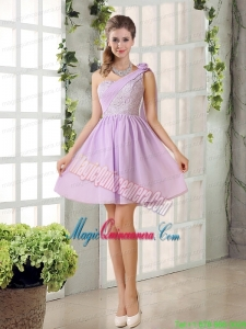 The Most Popular Lilace One Shoulder A line Mother Dress for Quinceanera with Rushing