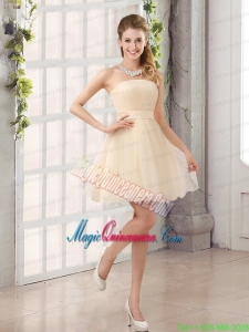 2015 A Line Belt Mini Length Mother Dress for Quinceanera with Strapless