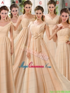 2015 Fashionable Champagne Ruching Chiffon Mother Dress for Quinceanera