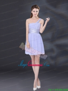 2015 Ruching and Belt Chiffon Mother Dress for Quinceanera in Lavender