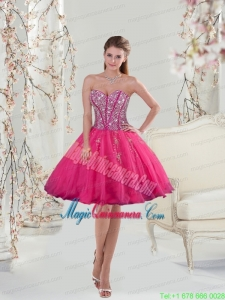 2015 Sweetheart Rose Pink Sequins and Appliques Mother Dress for Quinceanera