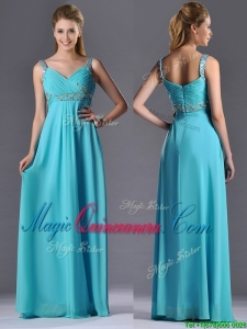 Beautiful Empire Aqua Blue Long Dama Dress with Beading and Ruching