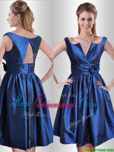 Exquisite Open Back Hand Crafted Flower Dama Dress in Royal Blue