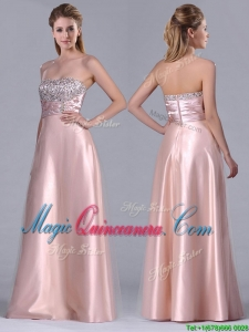 Fashionable Strapless Peach Long Dama Dress with Beaded Bodice