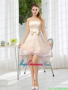 Luxurious Strapless A Line Mother Dress for Quinceanera with Belt and Lace