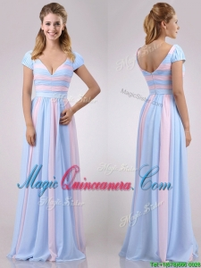 New Deep V Neckline Chiffon Dama Dress in Baby Pink and Light Blue