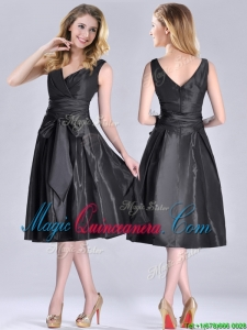 Popular Empire Black Tea Length Dama Dress with Ruching and Bowknot