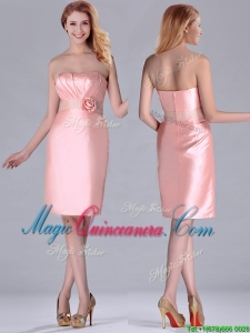 Short Strapless Knee Length Pink Dama Dress with Hand Crafted and Beading