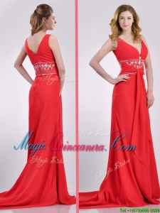 Beautiful V Neck Brush Train Chiffon Beaded Dama Dress in Coral Red