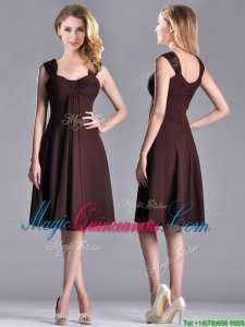 Best Selling Empire Ruched Brown Dama Dress with Wide Straps