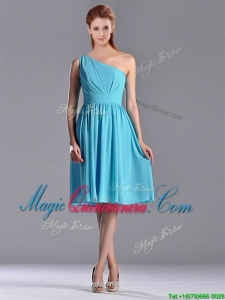 Discount Chiffon Baby Blue Knee Length Dama Dress with One Shoulder
