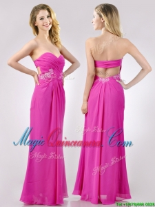 Fashionable Sweetheart Backless Beaded and Ruched Dama Dress in Hot Pink