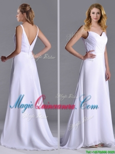 Popular Straps White Chiffon Dama Dress with Brush Train