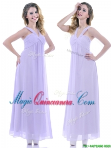 Wonderful Ruched Decorated Bust Ankle Length Dama Dress in Lavender