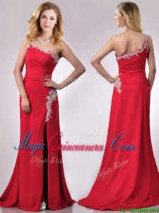 Luxurious Beaded Decorated One Shoulder and High Slit Dama Dress with Brush Train