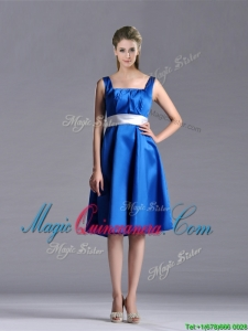 Exquisite Empire Square Taffeta Blue Dama Dress with White Belt