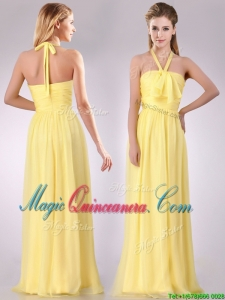 Lovely Halter Top Chiffon Ruched Long Dama Dress in Yellow