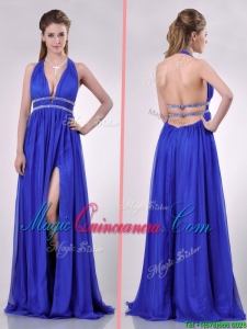 New Halter Top Blue Backless Dama Dress with Beading and High Slit