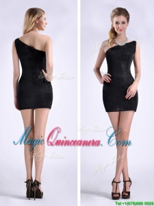 New Style Black One Shoulder Column Dama Dress with Zipper Up