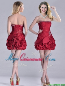 Classical Taffeta Wine Red Short Dama Dress with Beading and Bubbles