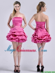 Latest A Line Bubble and Bowknot Taffeta Dama Dress in Hot Pink