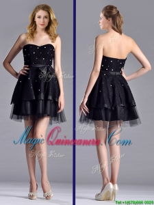 New Style Tulle Black Short Dama Dress with Beading and Belt