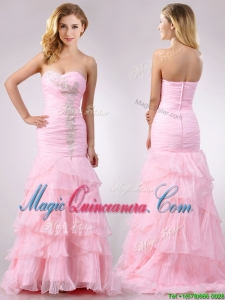 Popular Brush Train Organza Pink Dama Dress with Beading and Ruffles