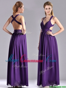 Sexy Purple Criss Cross Dama Dress with Ruched Decorated Bust