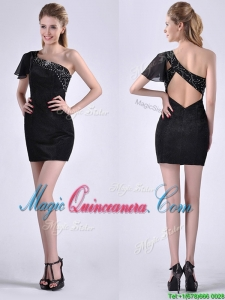 Best One Shoulder Black Dama Dress with Beaded Decorated Criss Cross