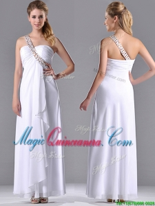 Fashionable Empire One Shoulder Chiffon Side Zipper White Dama Dress with Beading