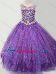 Latest Open Back Beaded Bodice Little Girl Pageant Dress in Purple