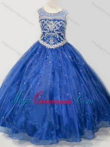 Beautiful Beaded Bodice Open Back Little Girl Pageant Dress in Royal Blue